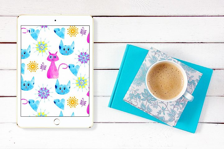 2 Watercolor cats pattern seamless, vector images