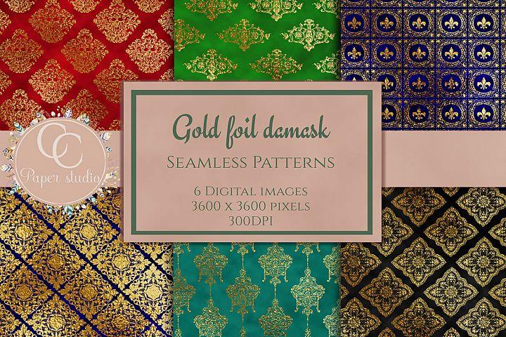 gold damask digital paper pack