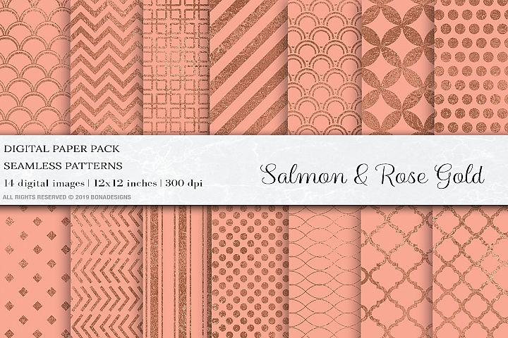 Salmon Rose Gold Seamless Patterns, Rose Gold Patterns