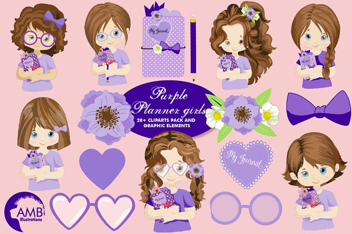 Purple Planner Girls Clipart AMB-2176