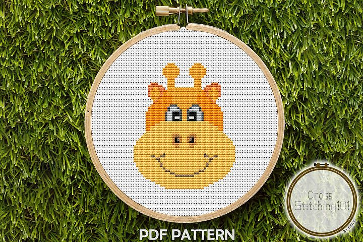 Cartoon Giraffe Face Cross Stitch Pattern - Instant Download