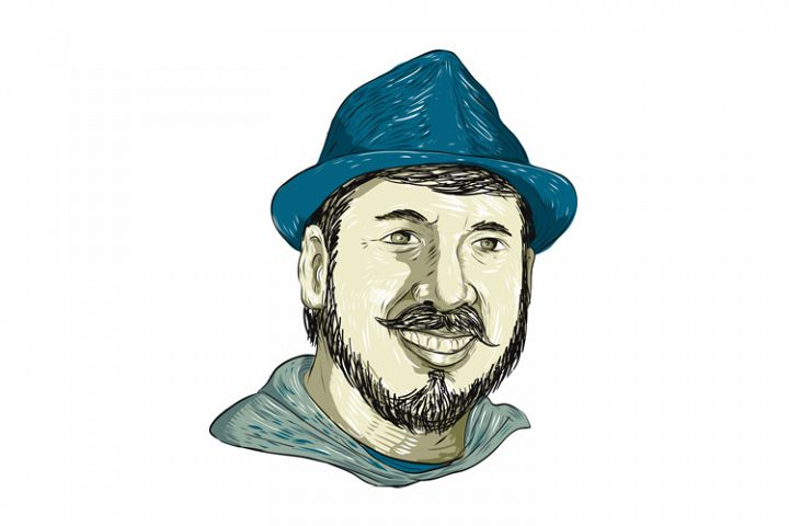 Hipster Wearing Fedora Hat Smiling Drawing
