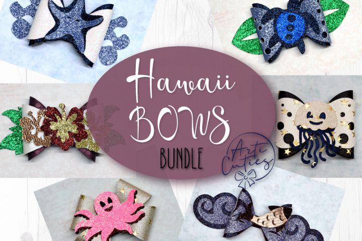 6 Hair bow template SVG, Hawaii sea lather bow template
