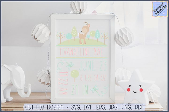 Woodlands Birth Announcement - SVG, Clipart, Printables