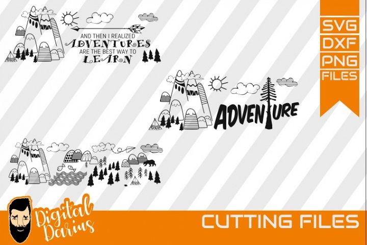 3x Adventure SVG, Travel Svg, Hobby dxf, Mountains, Go Wild
