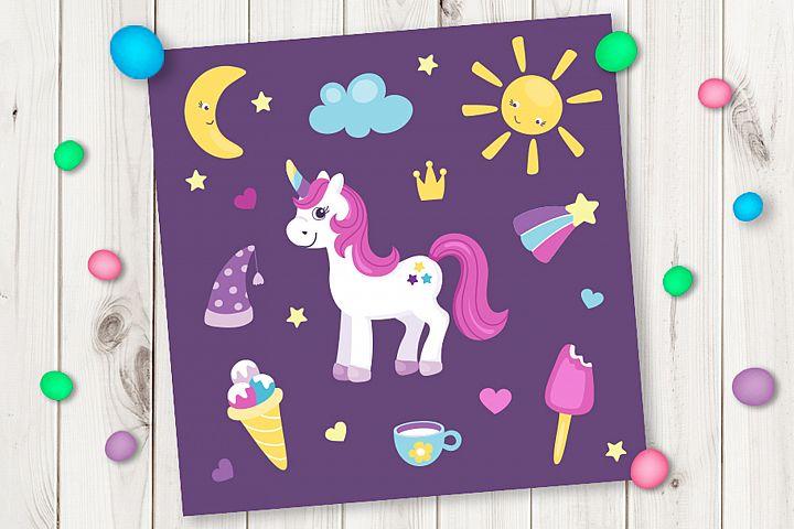 Cartoon cute unicorn
