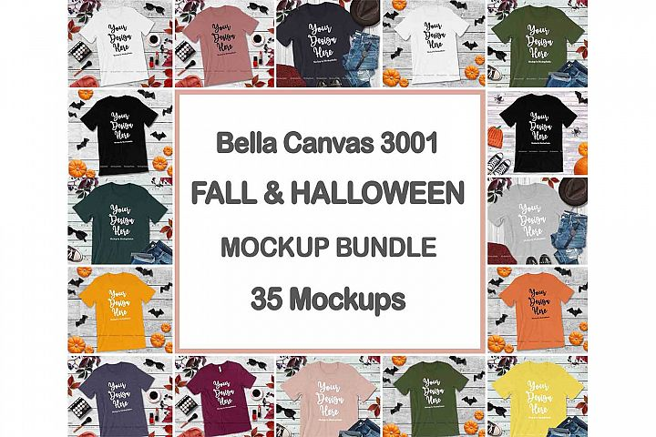 Bella Canvas 3001 Fall Halloween Tshirt Mockup Bundle