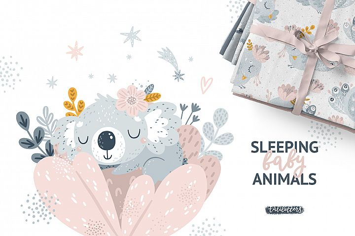 Sleeping Baby Animals Clipart and Patterns