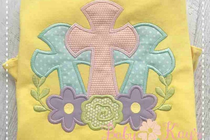 3 Crosses with Flowers Applique Design 4x4, 5x7, 6x10, 8x8