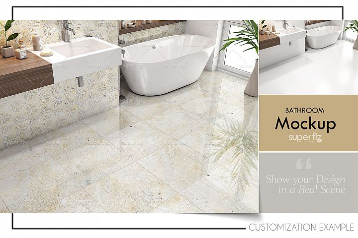 Floor and Wall PSD Mockup Bathroom Scene SM90