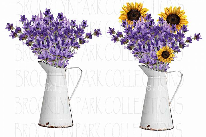 Vintage White Pitcher, Sunflowers Lavender, Bundle, Clip Art
