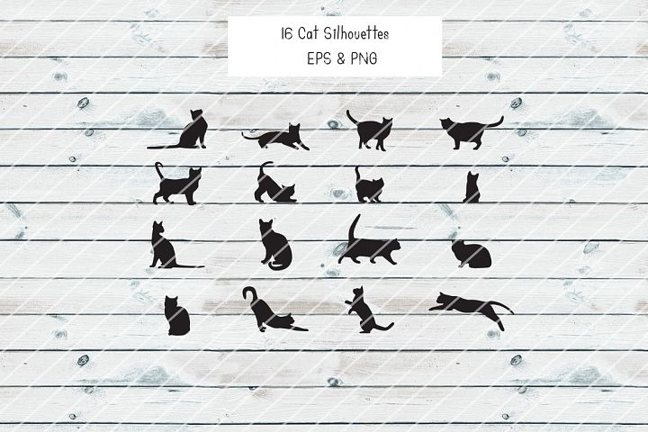 16 Cat Silhouettes