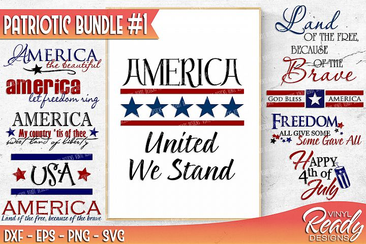 Patriotic Bundle #1 - 10 designs included - Vector Clip Art - Cutting Files - DXF EPS PNG SVG
