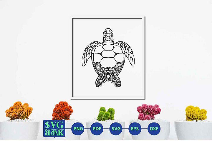 Mandala turtle svg, Zentangle turtle cut file, turtle svg