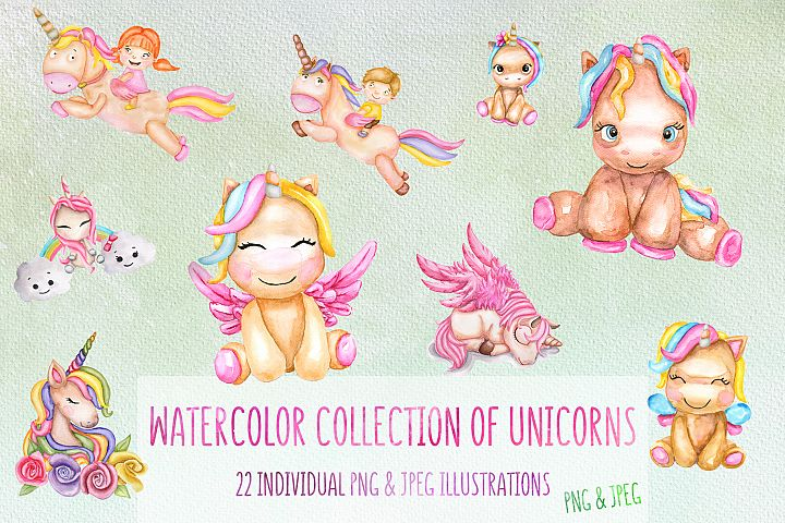 Watercolor unicorn collection