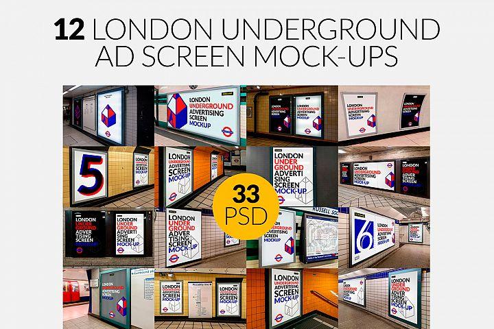 12 London Underground Ad Screen Mock-Ups Bundle