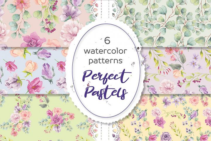 Perfect pastels watercolor patterns