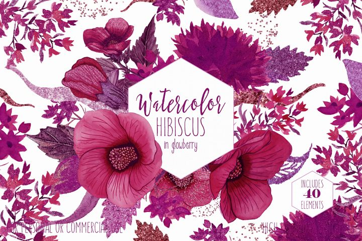 TROPICAL FLORAL Clipart Commercial Use Watercolor Hibiscus Hawaiian Flowers Wine Pink Burgundy & Ultra Violet Metallic Wreaths Invitation Graphics