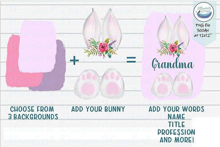 Flower Bunny ears and toes | add your words PNG sublimation
