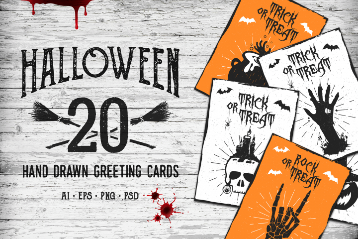 Halloween. 20 Greeting Cards - Free Design of The Week Font