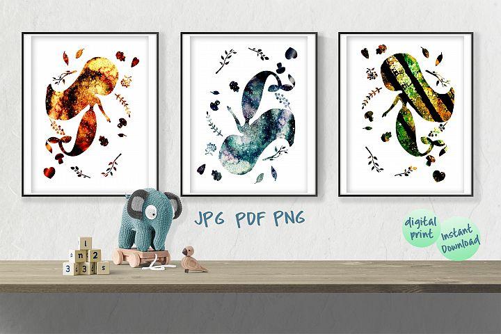 Mermaid wall art printable file bundle, set of 3