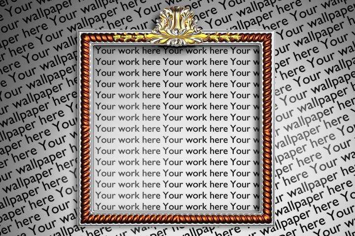 Silver and copper mock up square frame with baroque elements