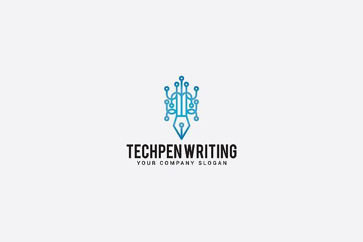 tech pen writing logo
