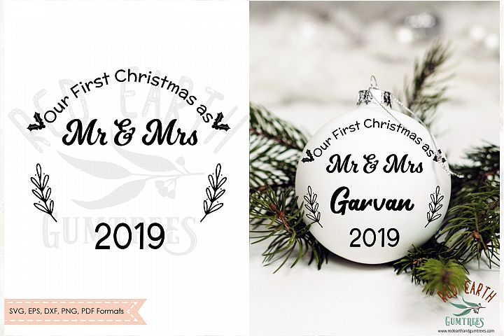 Our First Christmas as mr and Mrs, Newlyweds SVG,DXF,PNG,EPS