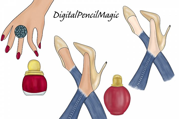 Red and gold glam fashion clipart, fashion accessories