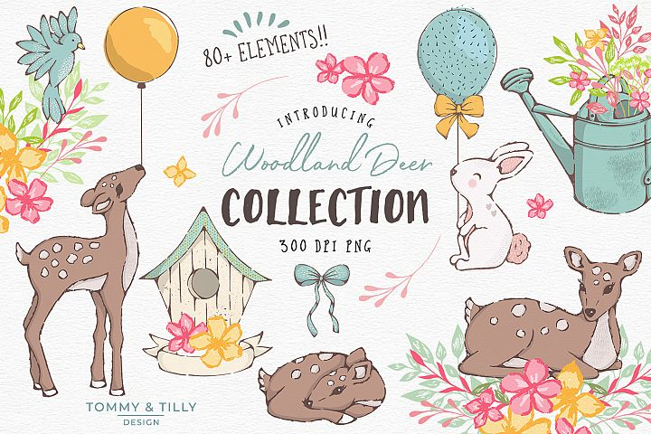Woodland Deer Clipart Graphics Collection