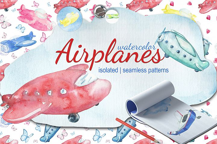 Watercolor Kids airplanes clipart, patterns