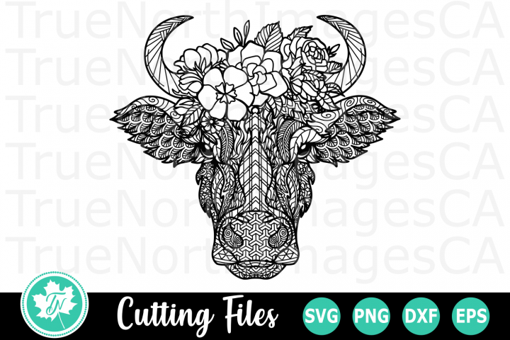 Zentangle Cow - An Animal SVG Cut File