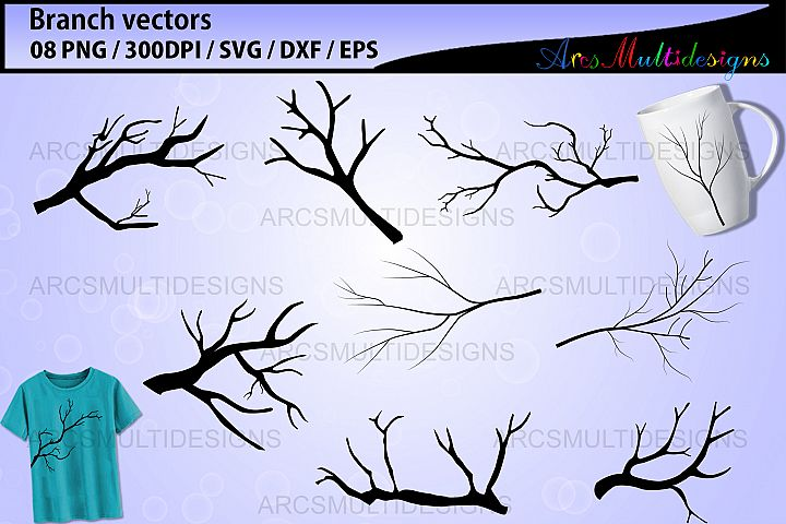 Branch silhouettes svg / bare branch vector