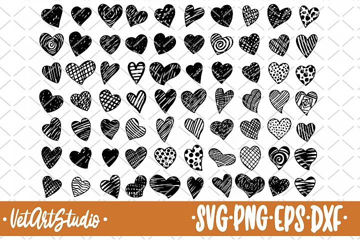 70 Hand drawn hearts, doodle heart svg