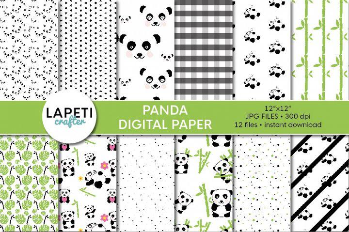 Panda digital paper, 12x12 Digital Scrapbooking Paper