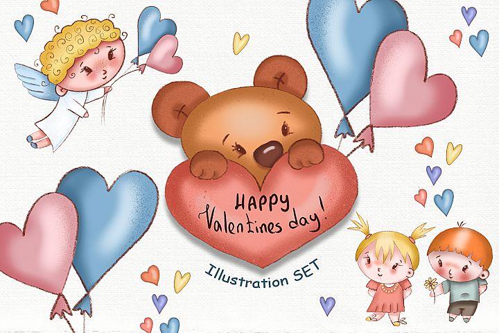 Valentines Day Illustration SET