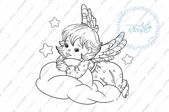 Angel Digital stamp - Cute Christmas Digi stamp coloring.