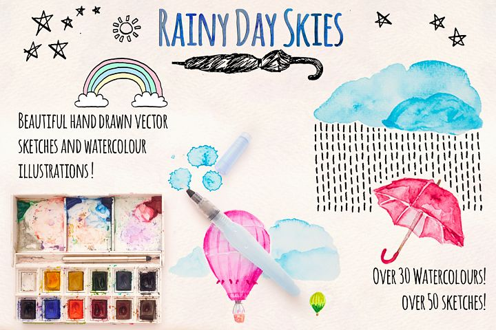 Rainy Days Sky Ink and Watercolour Element Pack 80 Graphics!