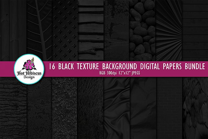 16 Black Photo Texture Background Digital Papers Bundle