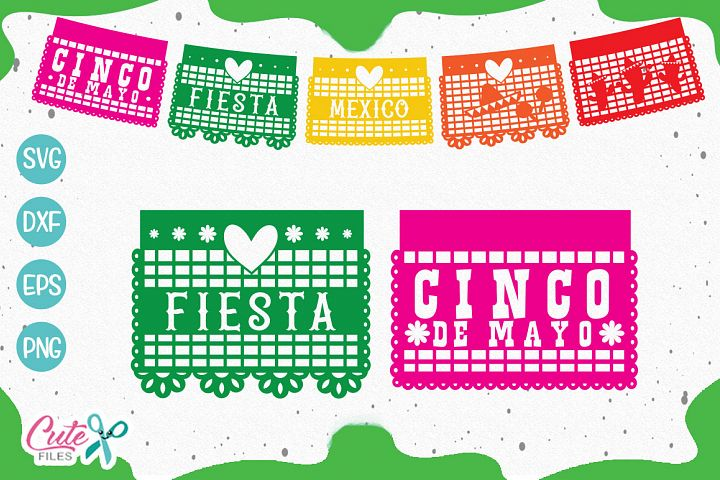 Papel picado banner, mexican party SVG cut files