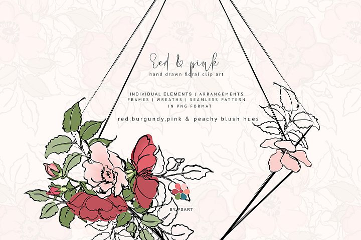 Hand Sketched Rose Clipart Collection