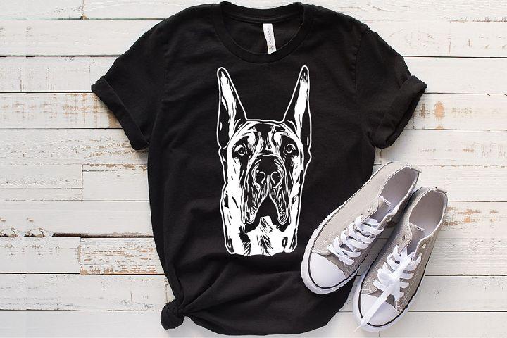 Great Dane svg portrait Hound dog head 1498s