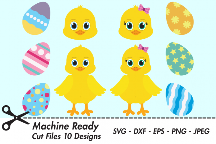 Cute Chick Bundle SVG Cut Files, Easter Chicks, Chicken Eggs