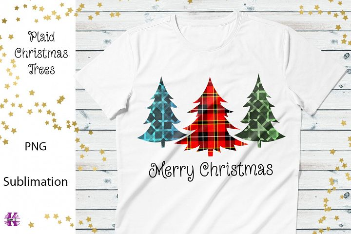Plaid Christmas Trees Sublimation Design