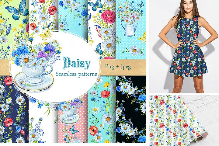 Daisy Patterns Seamless Floral Paper