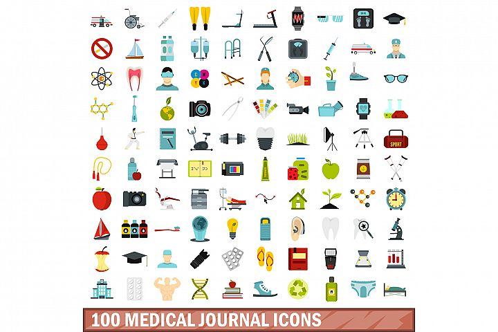 100 medical journal icons set, flat style
