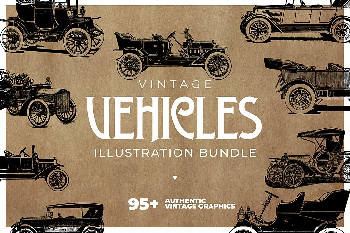 Vintage Vehicles Clipart Collection - Cars, Trains & more