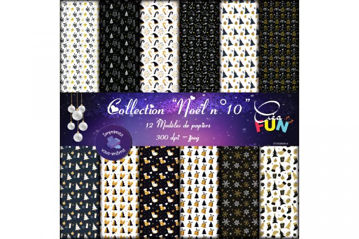 Lot de 12 papiers numériques - Collection Noël 10