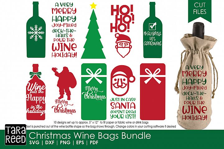 Christmas Wine Bags - Christmas SVG Files for Crafters