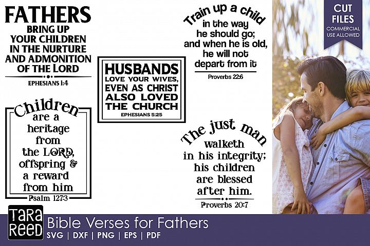 Bible Verses for Fathers - Family SVG and Cut Files